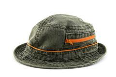 Denim hat with orange zipper - stock photo