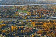 Aerial view of a suburban neighborhood Stock Photos
