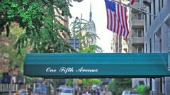 Empire State Building Lower 5th Ave Manhattan NYC Fifth Avenue Awning Canopy Stock Footage