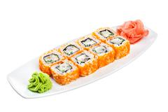 Stock Photo of sushi (california roll) on a white background