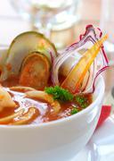 Tasty soup on a table at restaurant Stock Photos
