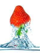strawberry and water - stock photo