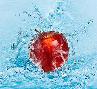 apple and water - stock photo