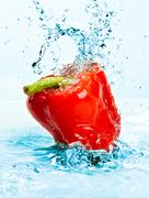 Pepper and water Stock Photos