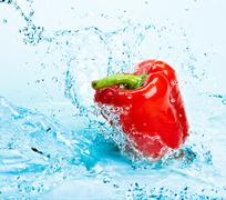 pepper and water - stock photo