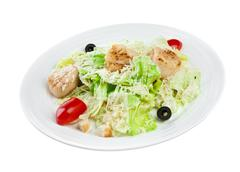 salad from vegetables and meat - stock photo