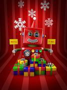 Merry christmas robot Stock Illustration