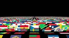 Flags of the World Carpet Animation, Alpha - stock footage