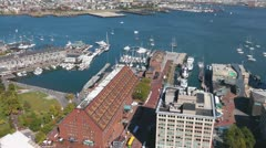 Time Lapse Long Wharf Boston Harbor Aerial Stock Footage