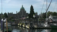 BC legislature and inner harbor Stock Footage