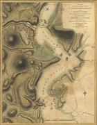 Map of naval attacks on the hudson river forts, 1777.. Stock Photos