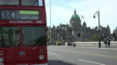 BC Legislature and British double decker bus Stock Footage