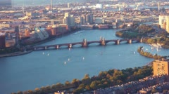 Aerial View Of Longfellow Bridge Boston Stock Footage
