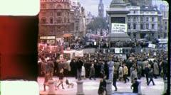 Crowds Trafalgar Square LONDON Street Nelson 1970s Vintage Film Home Movie 4285 - stock footage