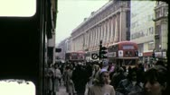 Stock Video Footage of Double Decker Downtown Central LONDON Street 1970s Vintage Film Home Movie 4288