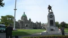 Victoria tourist season, BC Legislature and war memorial Stock Footage