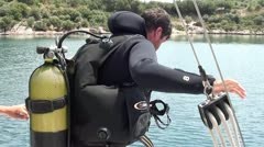 Before scuba diving - stock footage