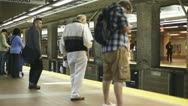 Stock Video Footage of Passengers Wait At An Underground Station On The Red Line Boston T Train
