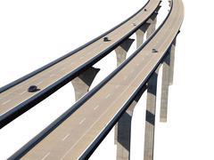 freeway bridge isolation with cars - stock photo