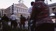 People Walking Past Faneuil Hall Boston Stock Footage