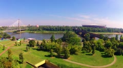 Time lapse Over The Vistula River In Warsaw. Stock Footage