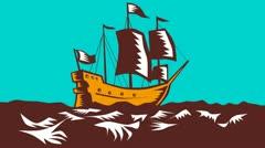 Tall Sailing Ship Retro Woodcut Stock Footage