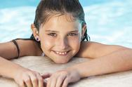 Stock Photo of happy girl child in swimming pool