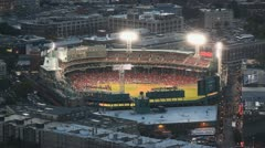 Boston Red Sox Baseball Stadium Fenway Park At Night Aerial Footage Stock Footage
