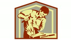 carpenter carver carving with hammer and chisel - stock footage