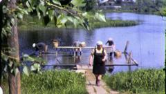 WOMEN WASHING CLOTHES Soviet Union Russia USSR 1970 Vintage Film Home Movie 4342 Stock Footage