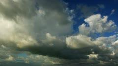 Clouds Cloud-drift Run away Time-lapse scene on the deep blue sky on coast Stock Footage
