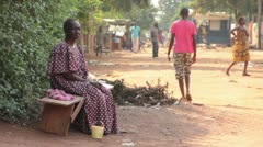 Women On Bench Africa Stock Footage