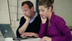 Business people in office overwhelmed with to much paperwork HD - stock footage