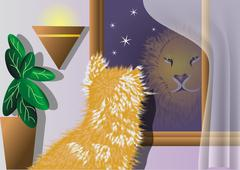 Cat who thinks he's a lion Stock Illustration