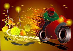 speed on night road - stock illustration