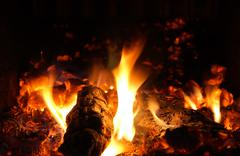 Flames and ember - stock photo