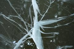 Bizarre cracked ice Stock Photos