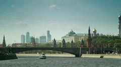 Ship on the Moscow River - stock footage