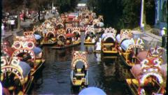 XOCHIMILCO Canals Boats Mexico City 1960s (Vintage Retro Film Home Movie) 4335 Stock Footage
