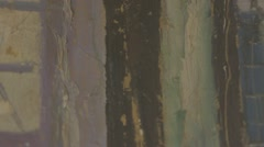 Green Paint Oozing down a Painting(canvas) Slow mo Stock Footage