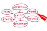 Crisis flow chart red marker Stock Illustration