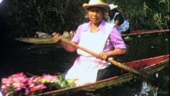 OLD WOMAN XOCHIMILCO Canals Boats 1960s (Vintage Retro Film Home Movie) 4336 Stock Footage