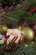 Christmas candle vert gumdrops Stock Photos