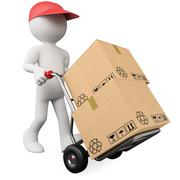 3d worker pushing a hand truck with boxes Stock Illustration