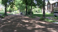 Tree lined street, America Stock Footage