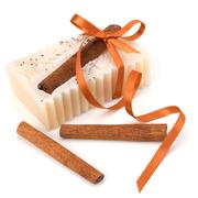 Luxurious handmade cinnamon soap Stock Photos