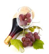 Red wine bottle and glass full with grapes Stock Photos