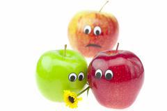 joke apple with eyes isolated on white - stock photo