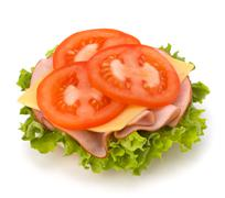 Stock Photo of healthy open sandwich with lettuce, tomato, smoked ham and cheese