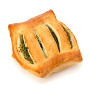 Stock Photo of puff pastry. healthy pasty with spinach.